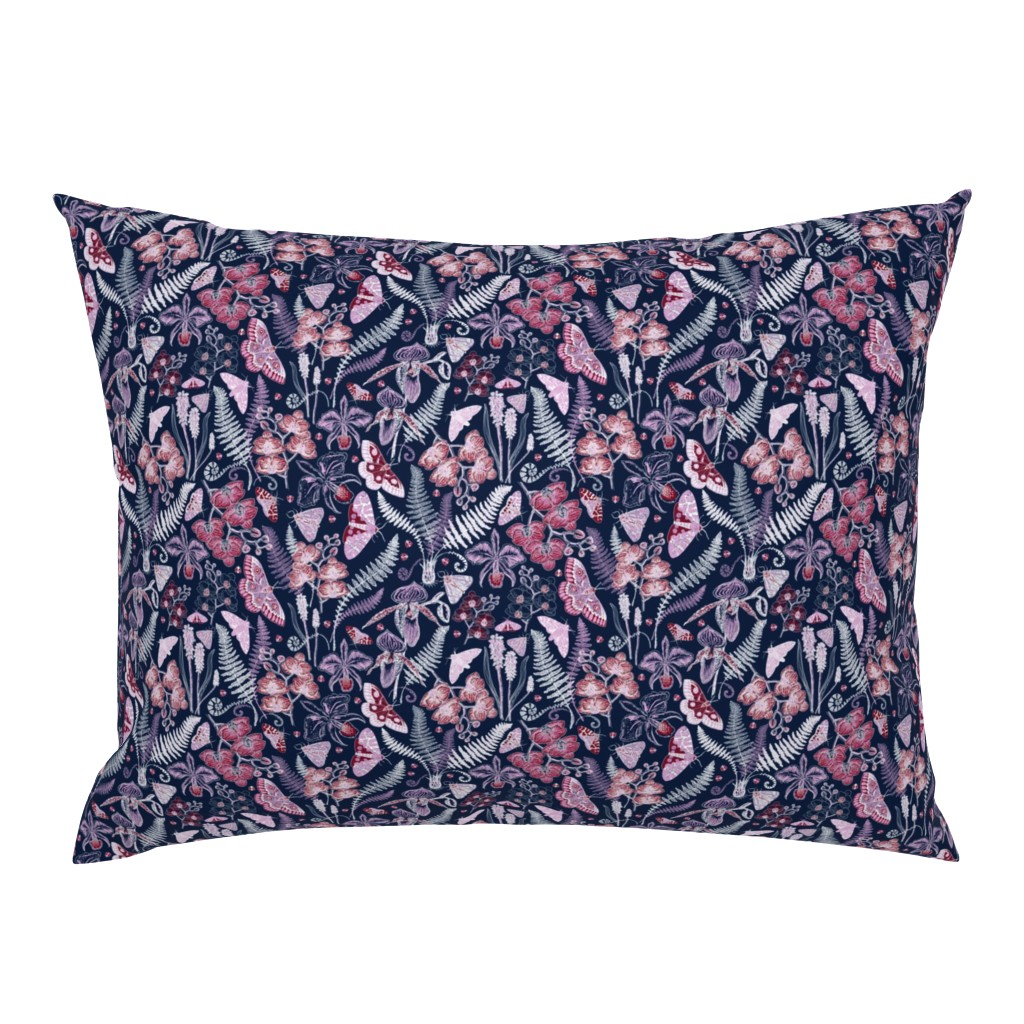 Campine Pillow Sham featuring Orchid Botanical Study (navy) small by helenpdesigns