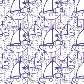 Sail Boats in White and Purple - nautical
