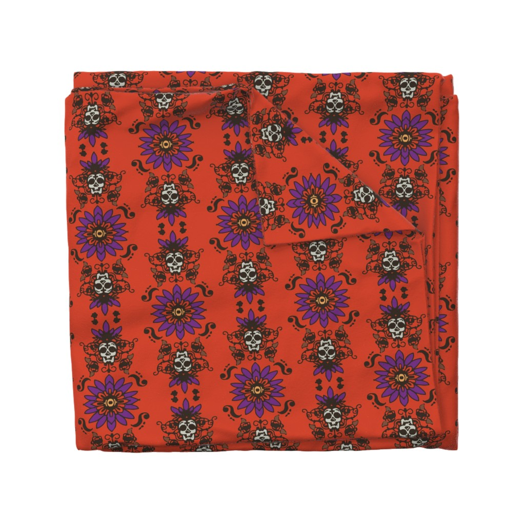 Wyandotte Duvet Cover featuring Skull flower Warm colored print by cellesria
