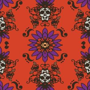 Skull flower Warm colored print