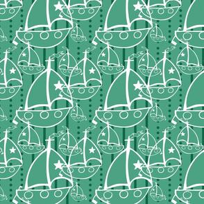 Sails Boats, Green, dark green and white