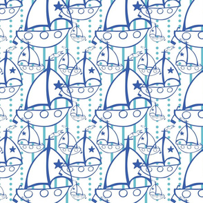 Sail Boats in white, light blue and Blue