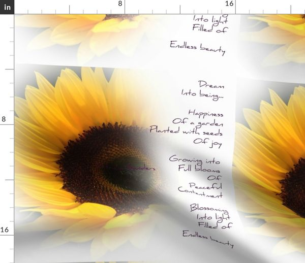 Fabric by the Yard Sunflower Dream Poem