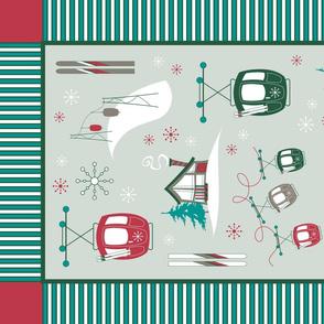 Vintage Ski TEA TOWEL (Festive)
