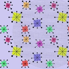 Purple circles and atomic starbursts
