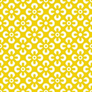 Illuminating Yellow White flowers grid summer Fabric
