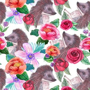 watercolor Hedgehog Floral