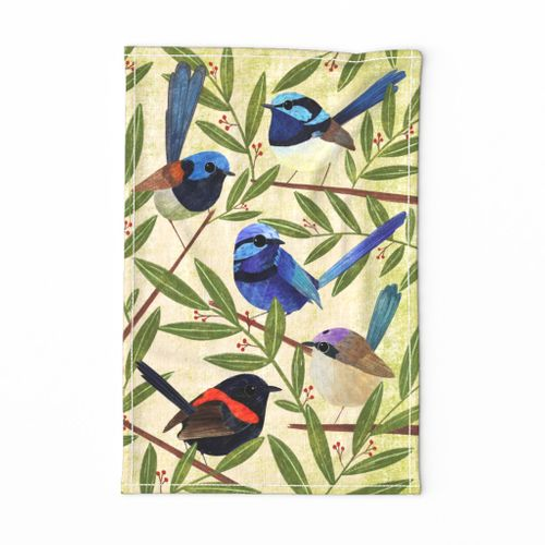 Fairy Wrens, hand painted colourful bird teatowel