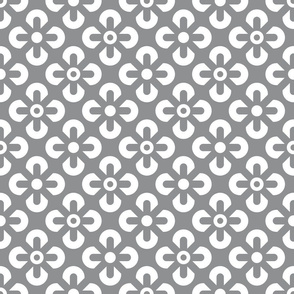 Ultimate Gray White flowers grid Wallpaper Fabric