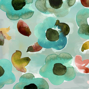Watercolor Floral in Sage and Green