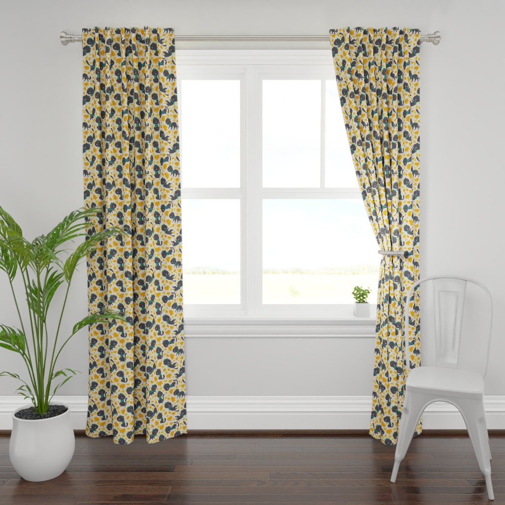 Plymouth Curtain Panel featuring cat fall-pattern by gnoppoletta