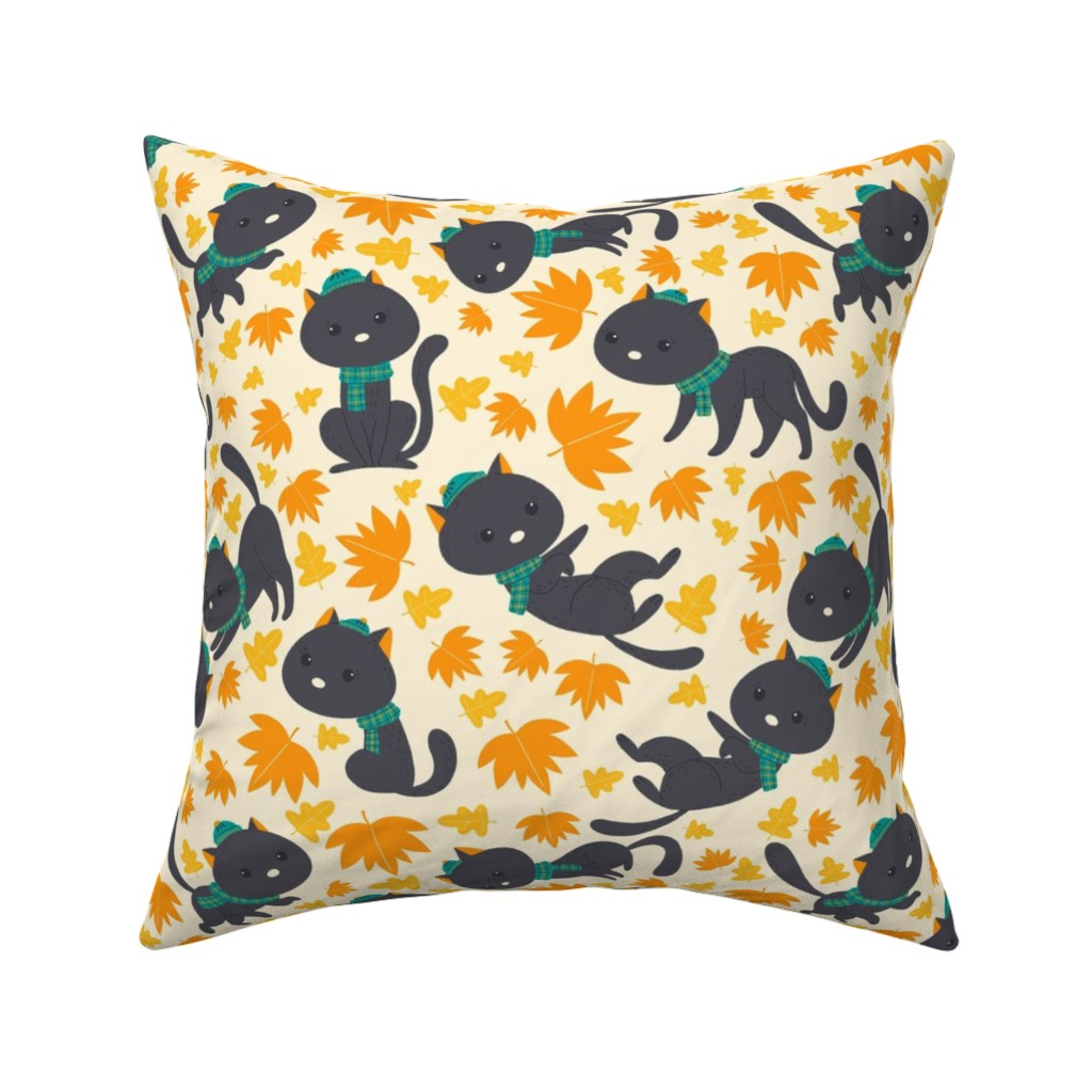 Catalan Throw Pillow featuring cat fall-pattern by gnoppoletta