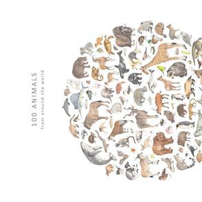 Illustrating animals tea towel