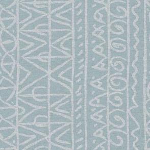 tribal light blue and white linen vertical