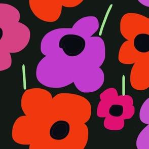 Pop Art Flowers on Black