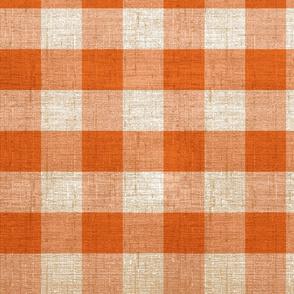 orange and tan gingham
