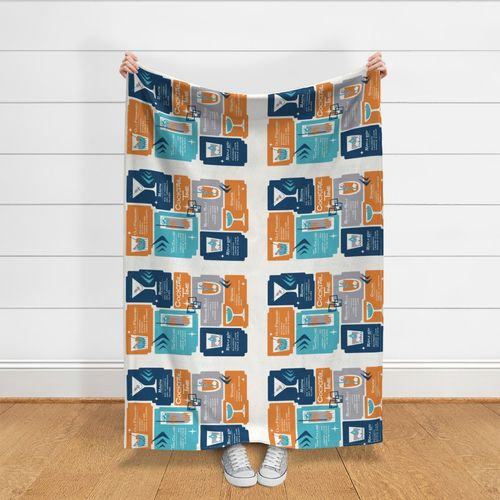 Retro Geschirrhandtuch Blau Orange