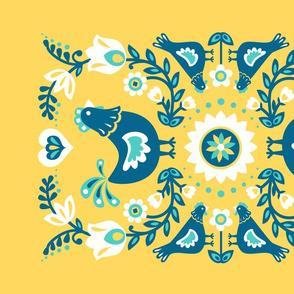 Blue Folk Chickens Tea Towel // yellow folk floral farm animal chickens scandinavian folk art kitchen decor fabric