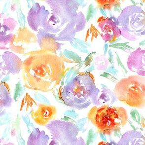 Watercolor florals in purple and orange