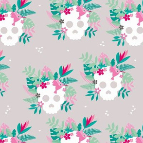 Colorful flowers and skulls sweet botanical leaves halloween pattern gray blue