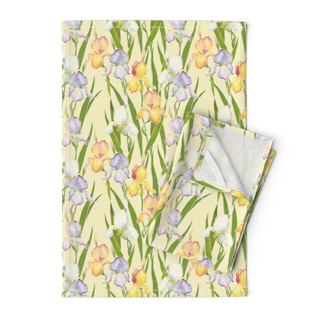 Orpington Tea Towels featuring Irises Garden by nadyabasos