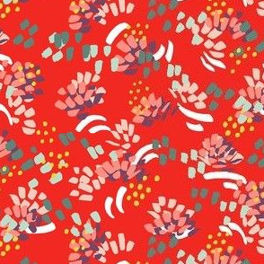 Ditsy abstract flowers on red