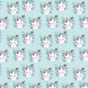 Colorful flowers and skulls sweet botanical leaves halloween pattern blue pink SMALL