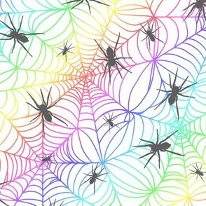 Spiderwebs - rainbow - white background