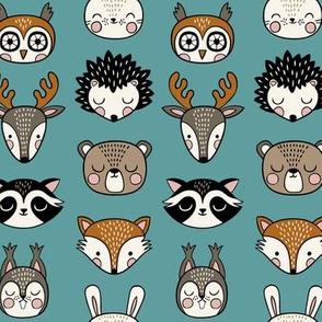 cute woodland animal heads - teal