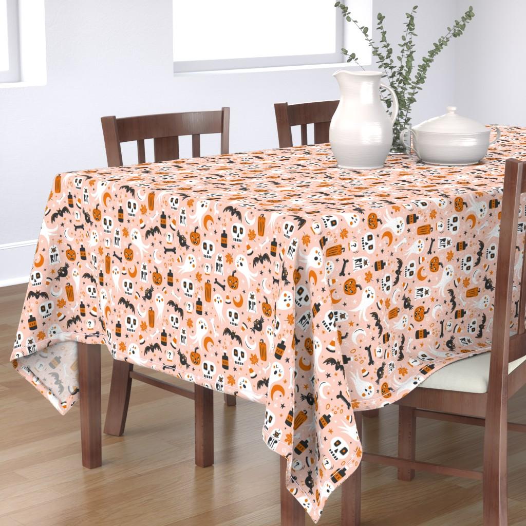 Bantam Rectangular Tablecloth featuring Halloween Haunting - Blush Pink by heatherdutton