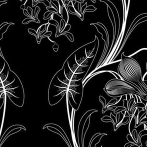 Art Nouveau Floral Pattern (Black)