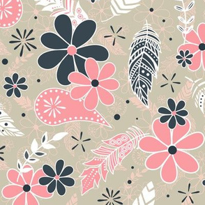 feathers flowers paislies pink navy blue sand