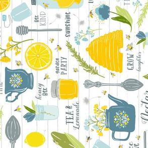 Sweet Tea + Bees TEA TOWEL // Pollinator Garden Party // Vintage Tea Pot, Cup, Spoon // Honey Jar, Citrus, Lemon, Orange, branches, blooms, mason jar, insects, summer, tea, bee hive, bee keeper, hat, nectar