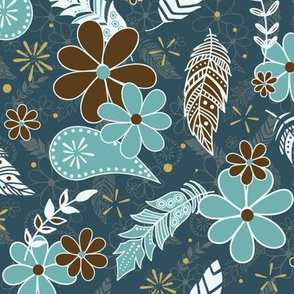 flowers and feathers boho teal turquoise brown