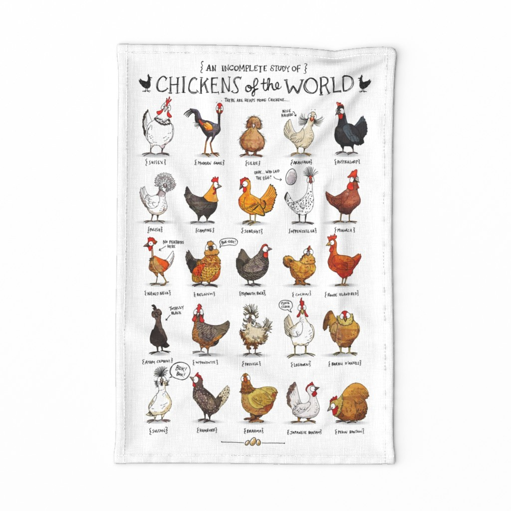 Special Edition Spoonflower Tea Towel featuring Chickens of the World by mulberry_tree