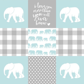 Elephant wholecloth - I love you more than you will ever know - patchwork - plaid - blue