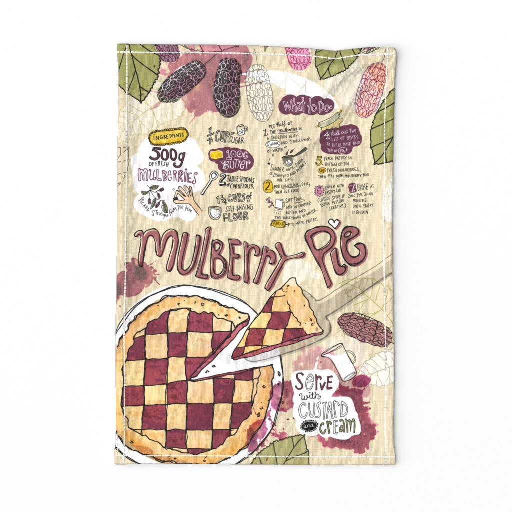 Special Edition Spoonflower Tea Towel featuring My oh my, it's Mulberry Pie by mulberry_tree