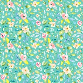Teal Spring Floral