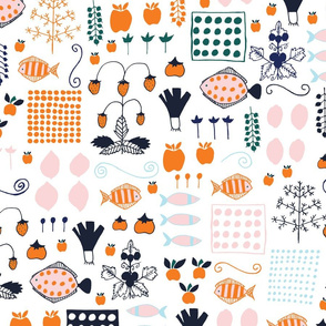 Scandinavian Groceries - Repeating - Navy Orange Coral