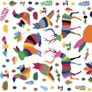 woodland animals tea towel