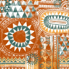 Tribal Bohemian Patchwork / Terracotta and Pine Green