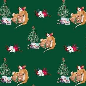 """4"""" Mama and Baby Deer Christmas - Green"""