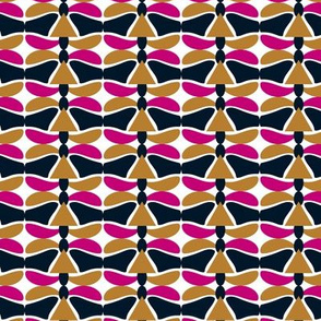 Time Warp Geometric Delight, Pink Gold Navy White Abstract
