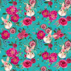 Bunny Fall Floral pink and teal watercolor
