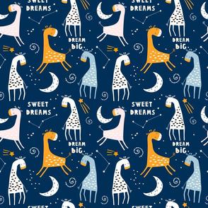 sweet dream giraffes in night sky