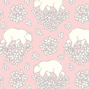 Bears and berries pale pink