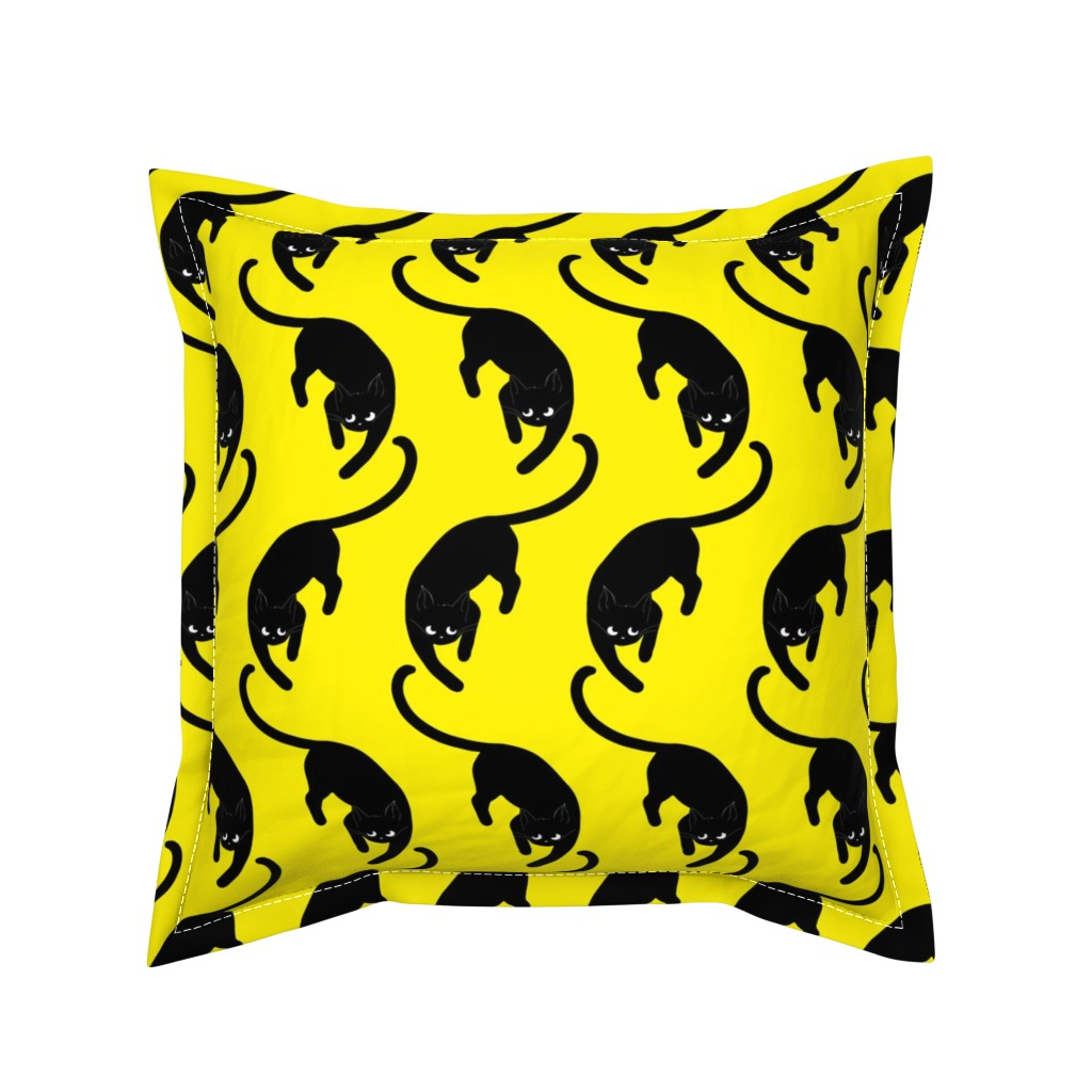 Serama Throw Pillow featuring black cats on yellow by nina_savinova