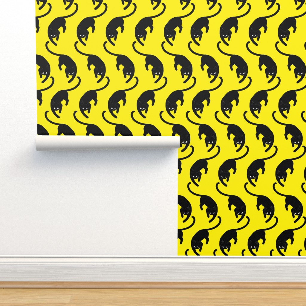 Isobar Durable Wallpaper featuring black cats on yellow by nina_savinova