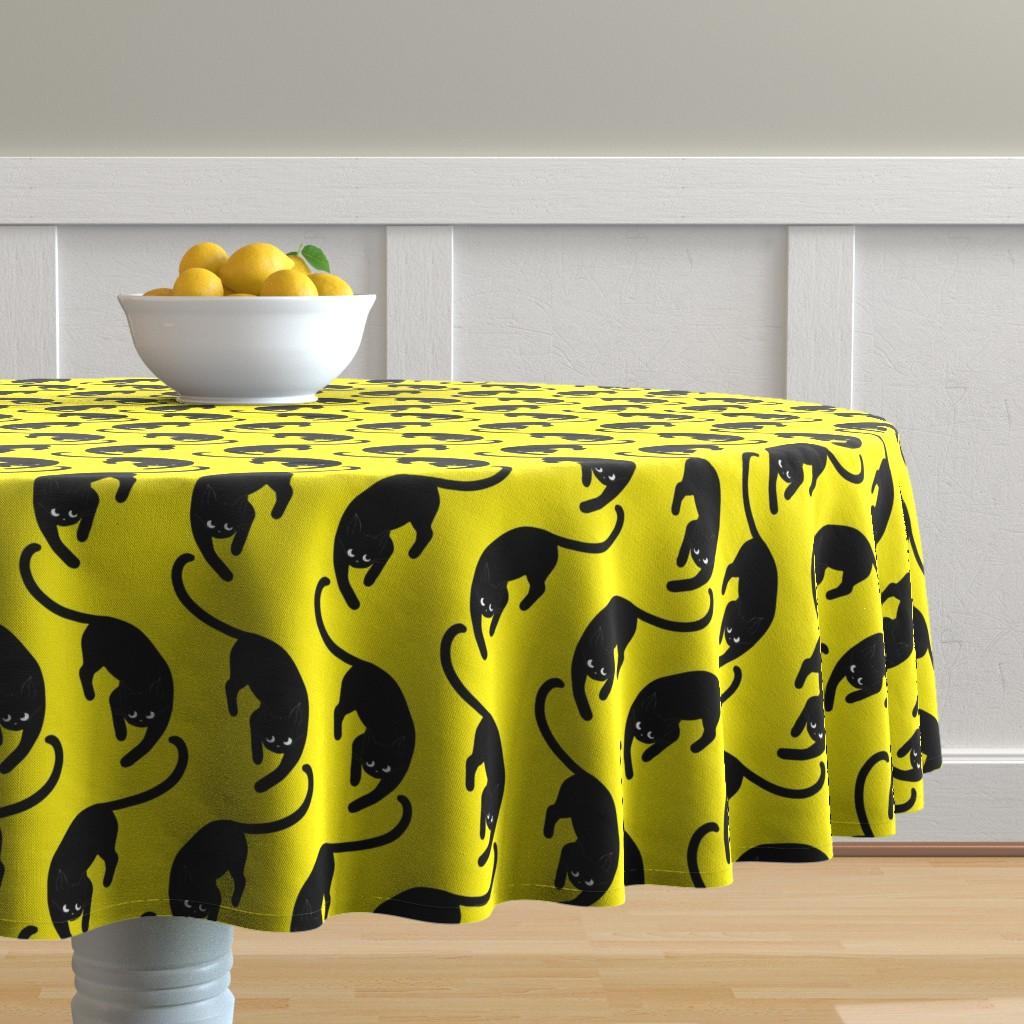 Malay Round Tablecloth featuring black cats on yellow by nina_savinova