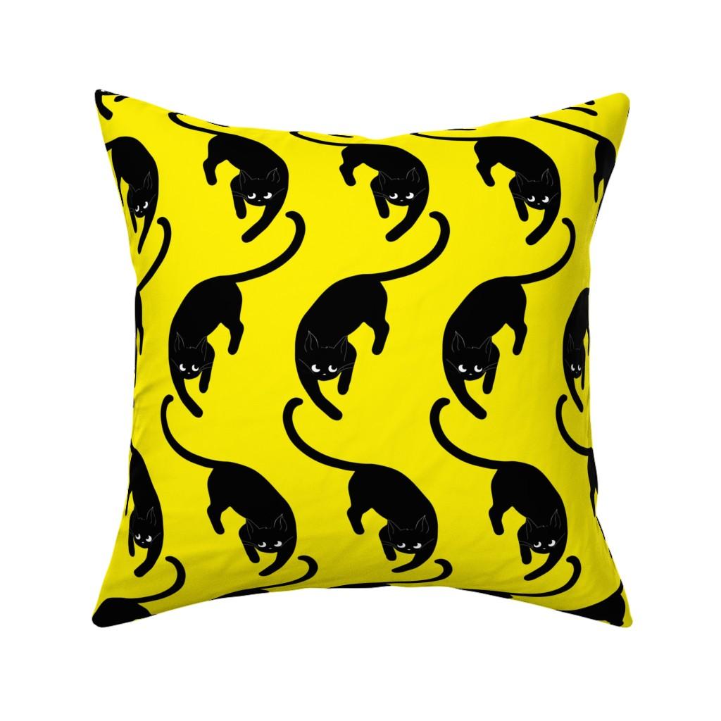 Catalan Throw Pillow featuring black cats on yellow by nina_savinova